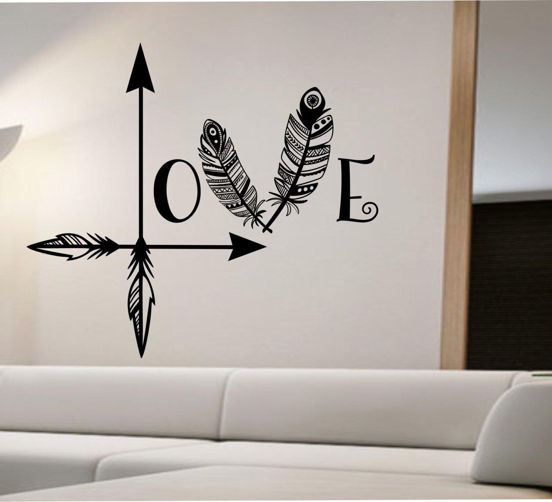 Love Arrow Wall Decal Feather Namaste Vinyl Sticker Art Decor Inside Most Recent Wall Sticker Art (View 9 of 15)