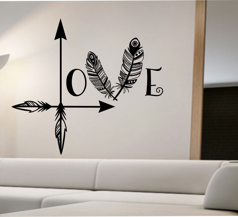 Love Arrow Wall Decal Feather Namaste Vinyl Sticker Art Decor Inside Most Recent Wall Sticker Art (Gallery 14 of 15)