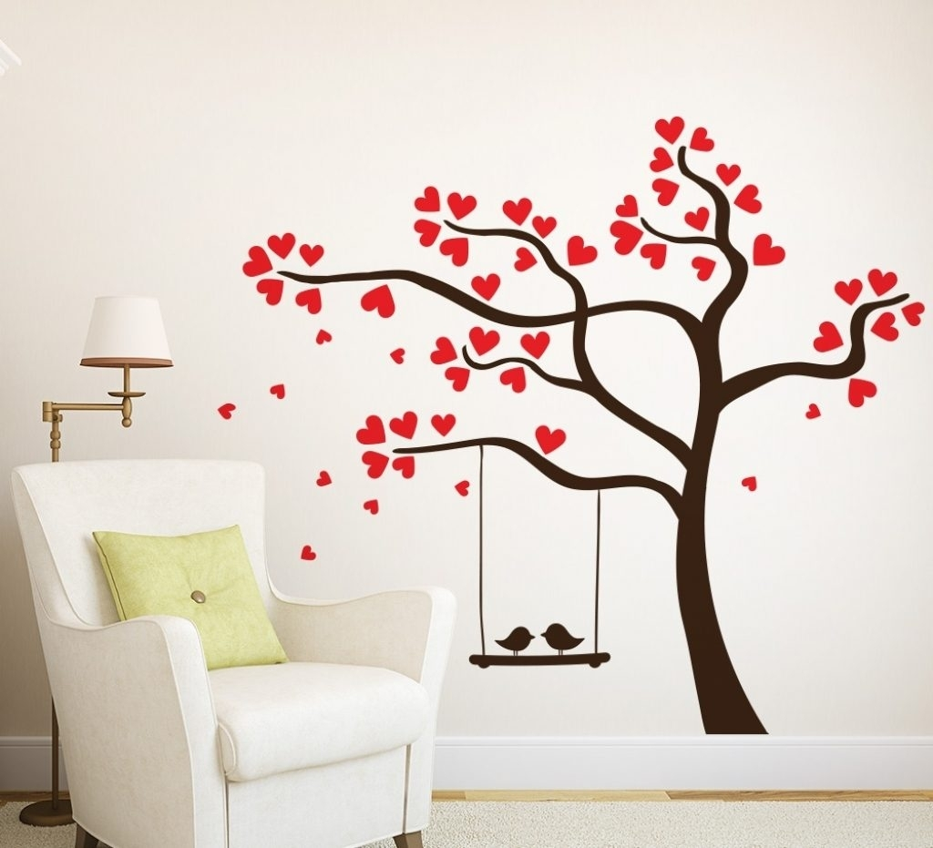 Love Birds In A Tree Wall Sticker For The Home Wall Art Tree Inside In Current Tree Wall Art (Gallery 13 of 15)