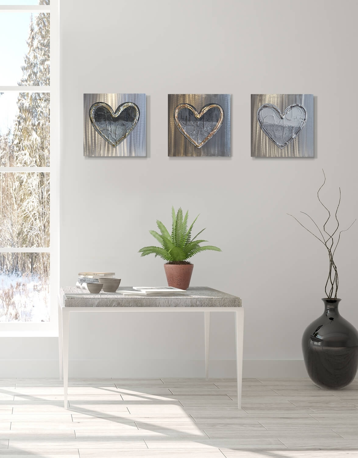 Love Heart Brass Fusion – Silver Wall Art, Contemporary Art Uk Intended For 2018 Silver Wall Art (Gallery 6 of 20)