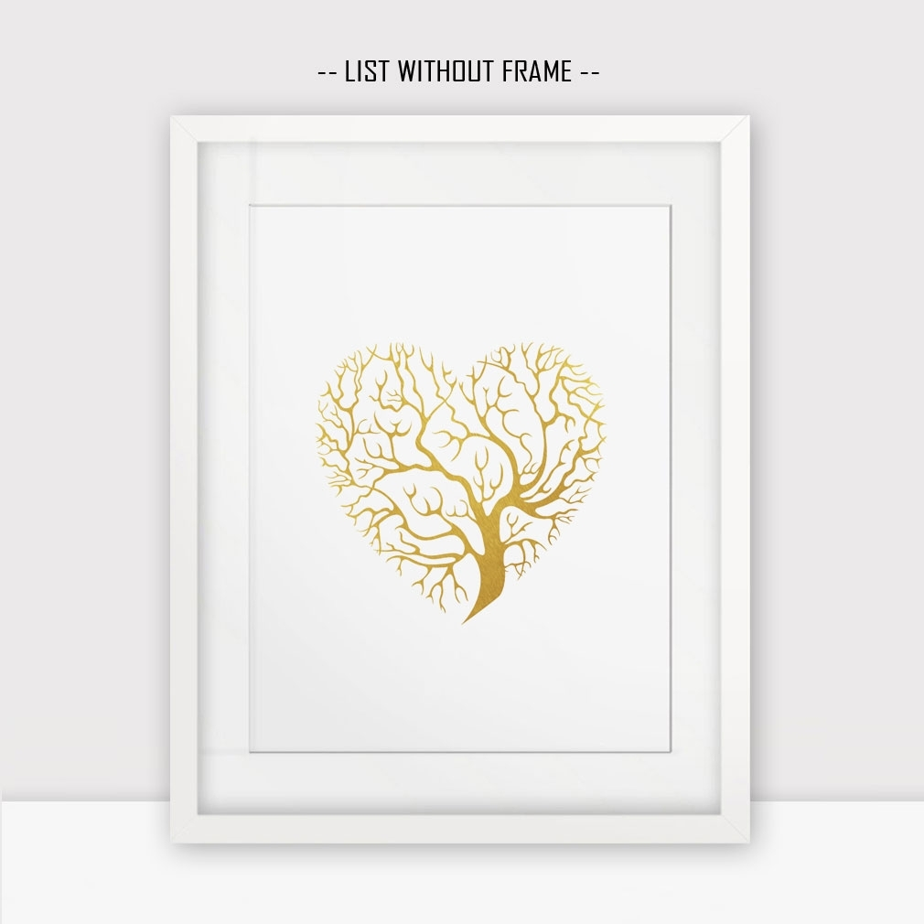 Love Hearts Gold Foil Wall Print Golden Tree Wall Hanging Print For Most Popular Gold Foil Wall Art (View 11 of 20)