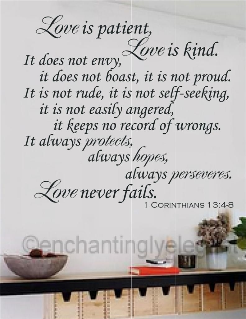 Love Is Patient Love Is Kind Bible Verse Vinyl Decal Wall Sticker Inside Most Recently Released Love Is Patient Wall Art (View 14 of 20)