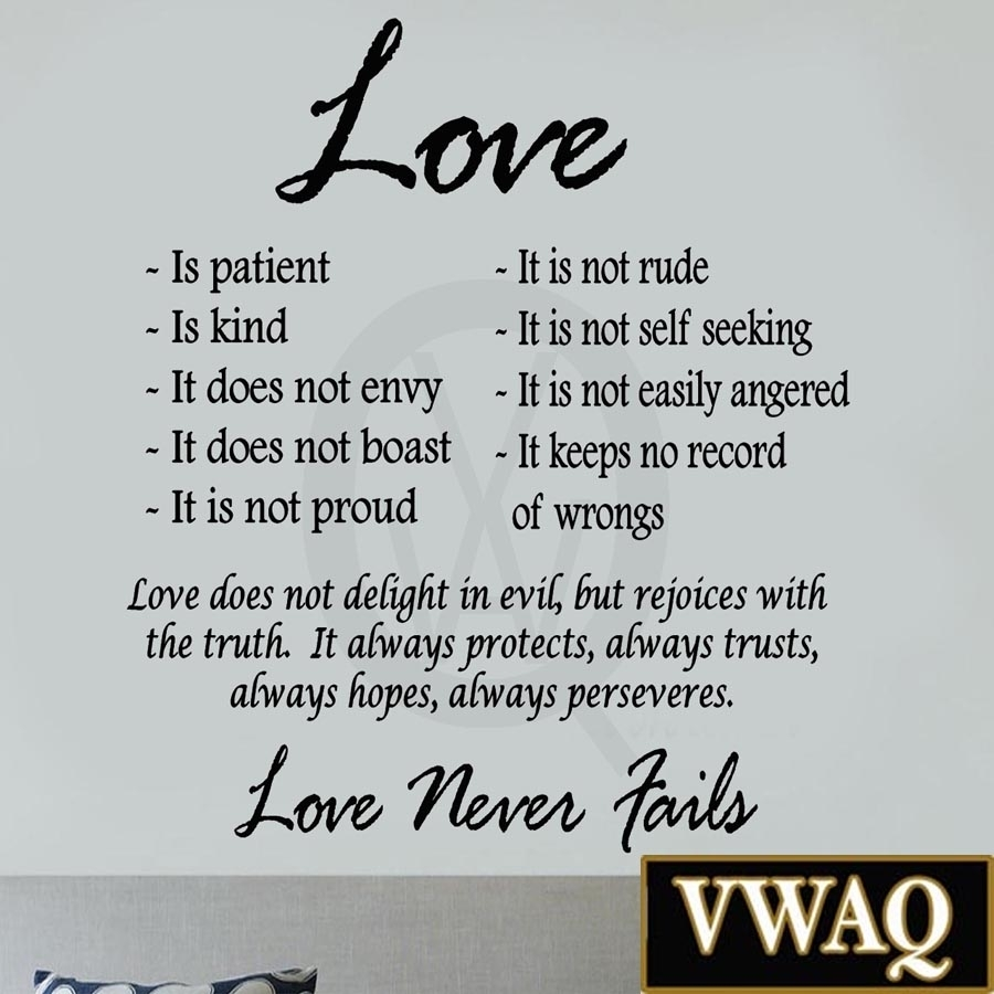 Love Is Patient Love Is Kind Wall Art Decor Vinyl Decal Sayings Within Recent Love Is Patient Wall Art (View 12 of 20)