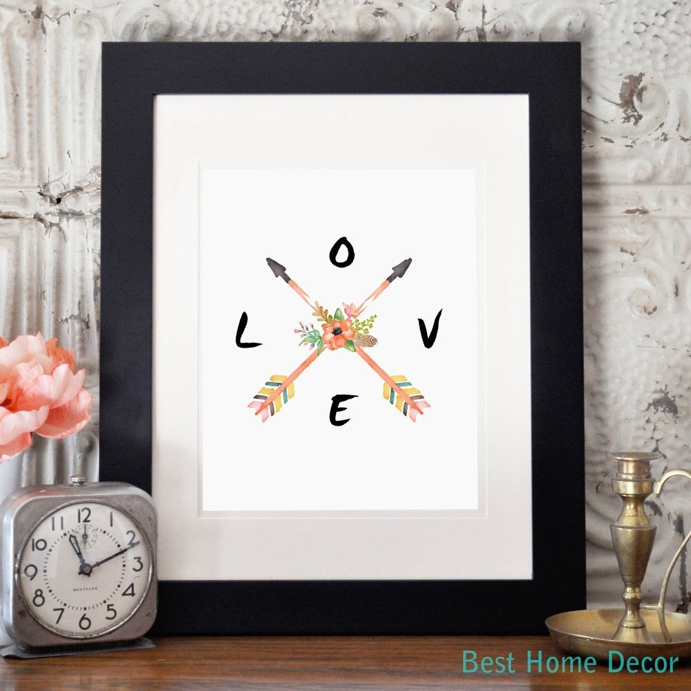 Love Poster Arrow Wall Art Home Decoration Watercolor Art Flower Within 2018 Arrow Wall Art (Gallery 15 of 20)