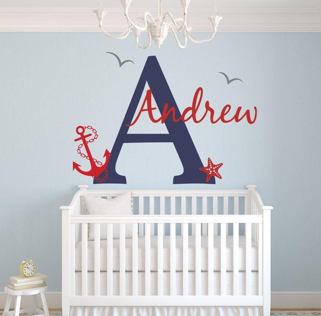 Lovely Decals World Llc Wall Decor: Custom Nautical Name Wall Decal Within 2018 Name Wall Art (View 10 of 20)