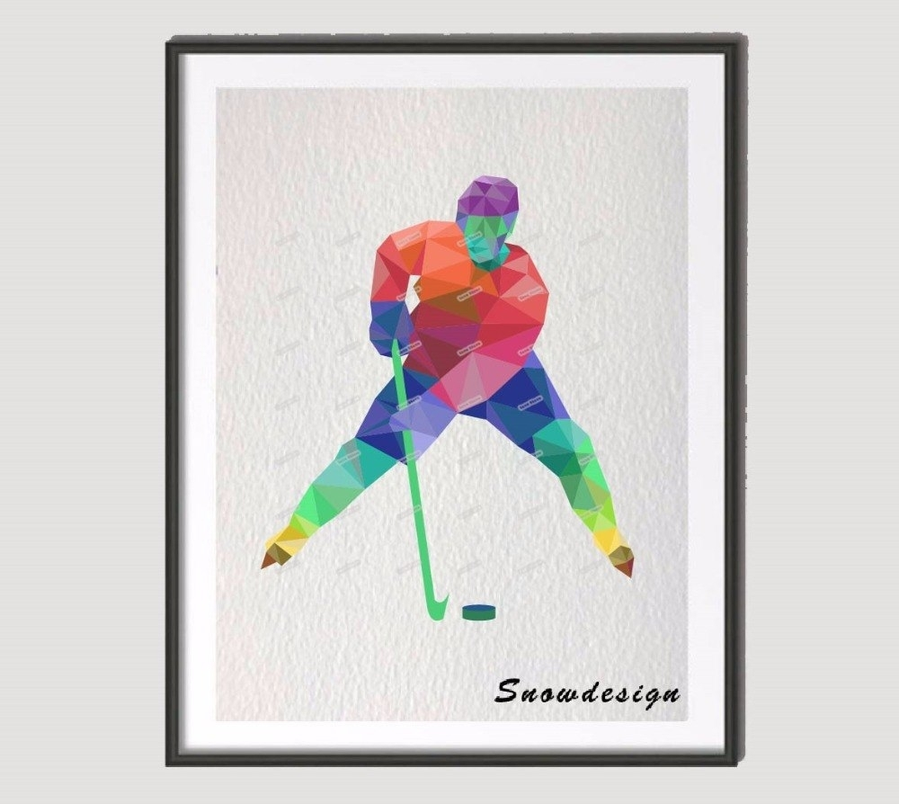 Low Poly Modern Geometric Coral Ice Hockey Canvas Painting Wall Art Pertaining To Latest Coral Wall Art (Gallery 14 of 20)