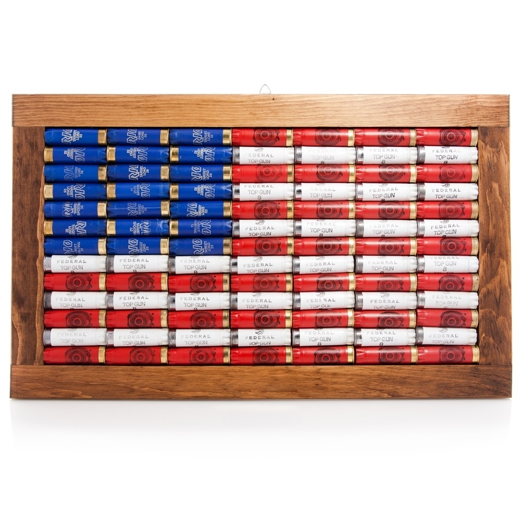 Lucky Shot 12 Gauge American Flag Wall Art | Red Hill Cutlery within Most Popular American Flag Wall Art