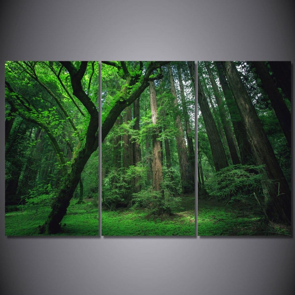 Lush Green Forest Framed Canvas Wall Art Nature Art – Super Tech For Latest Nature Wall Art (Gallery 7 of 20)