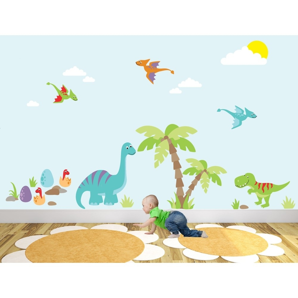 Luxury Dinosaur Nursery Wall Art Sticker Scenes Intended For Most Up To Date Dinosaur Wall Art (Gallery 4 of 20)