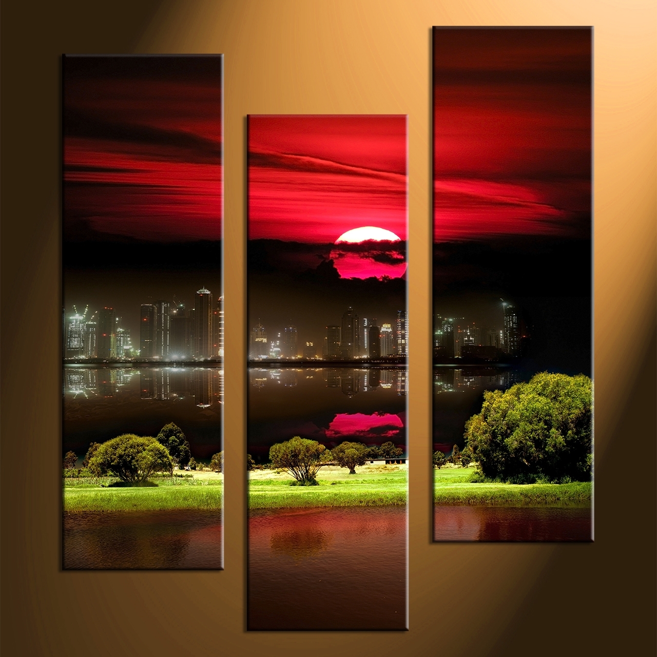 Luxury Three Piece Wall Art 12 3 Canvas City Grass Pictures Prints Throughout 2018 Nature Wall Art (Gallery 9 of 20)
