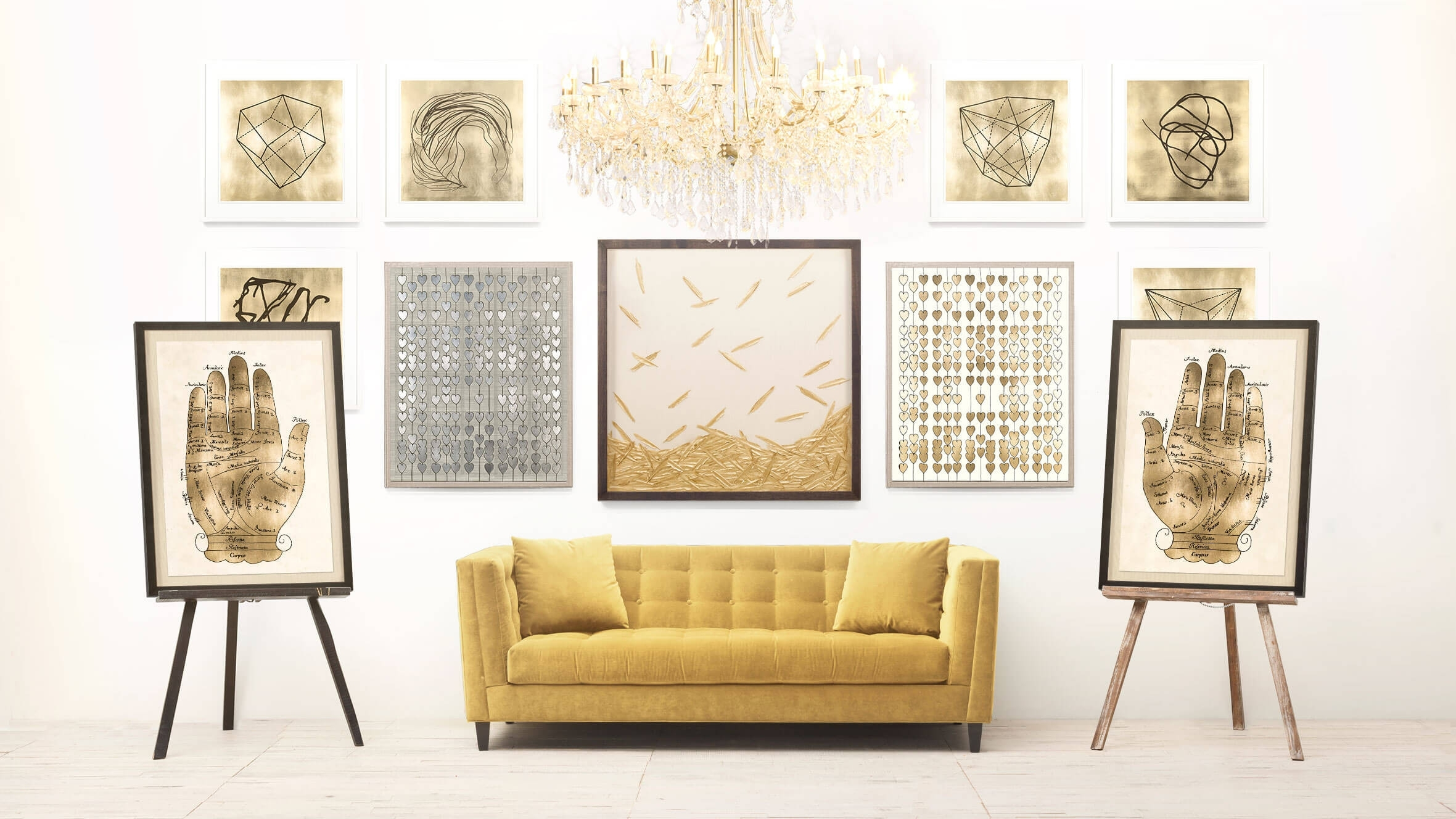 Luxury White And Gold Wall Art - Kunuzmetals within Latest Gold Wall Art