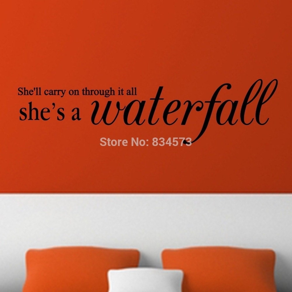 Mad World She's A Waterfall Lyrics Song Wall Art Stickers Wall Decal For Recent Song Lyric Wall Art (View 13 of 20)