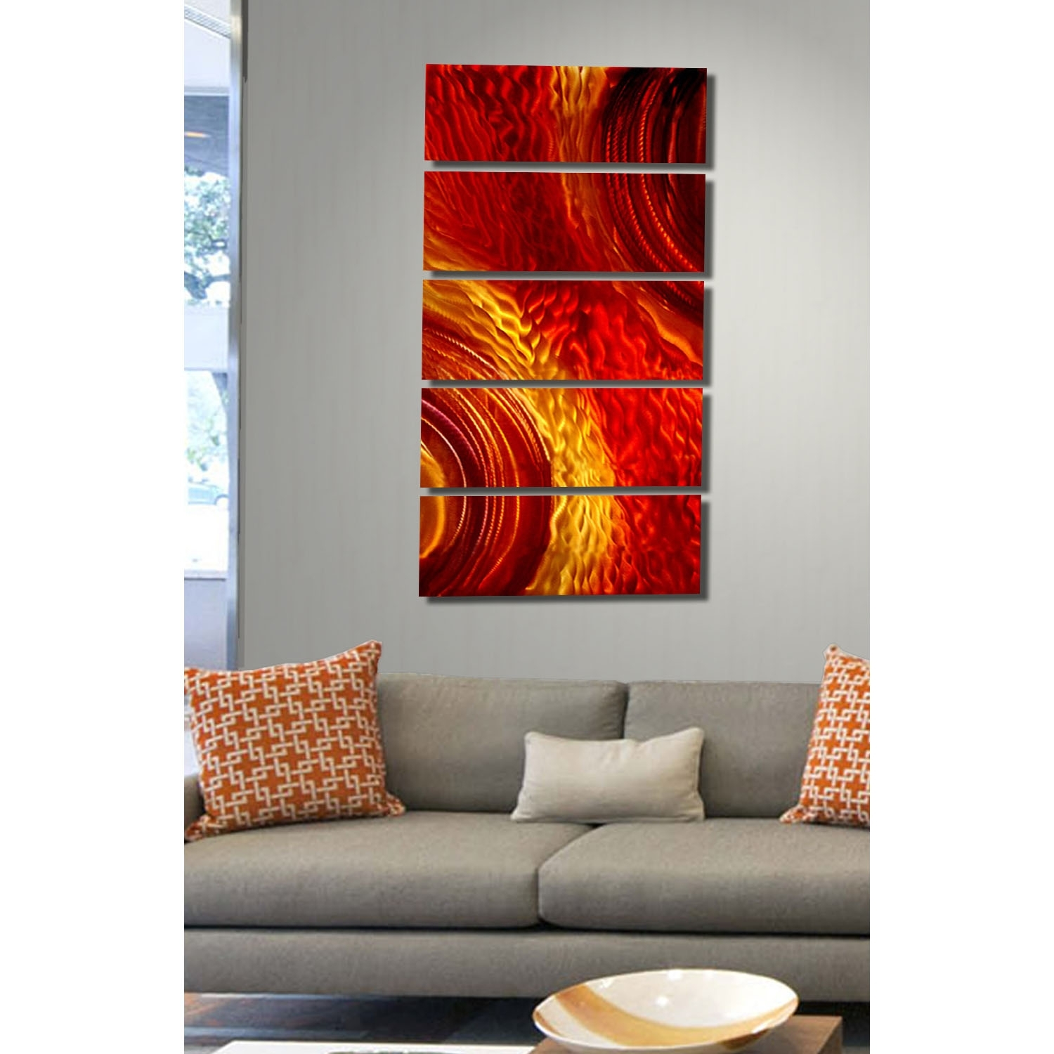 Magma – Red And Gold Metal Wall Art – 5 Panel Wall Décorjon With Regard To Best And Newest Orange Wall Art (Gallery 7 of 20)