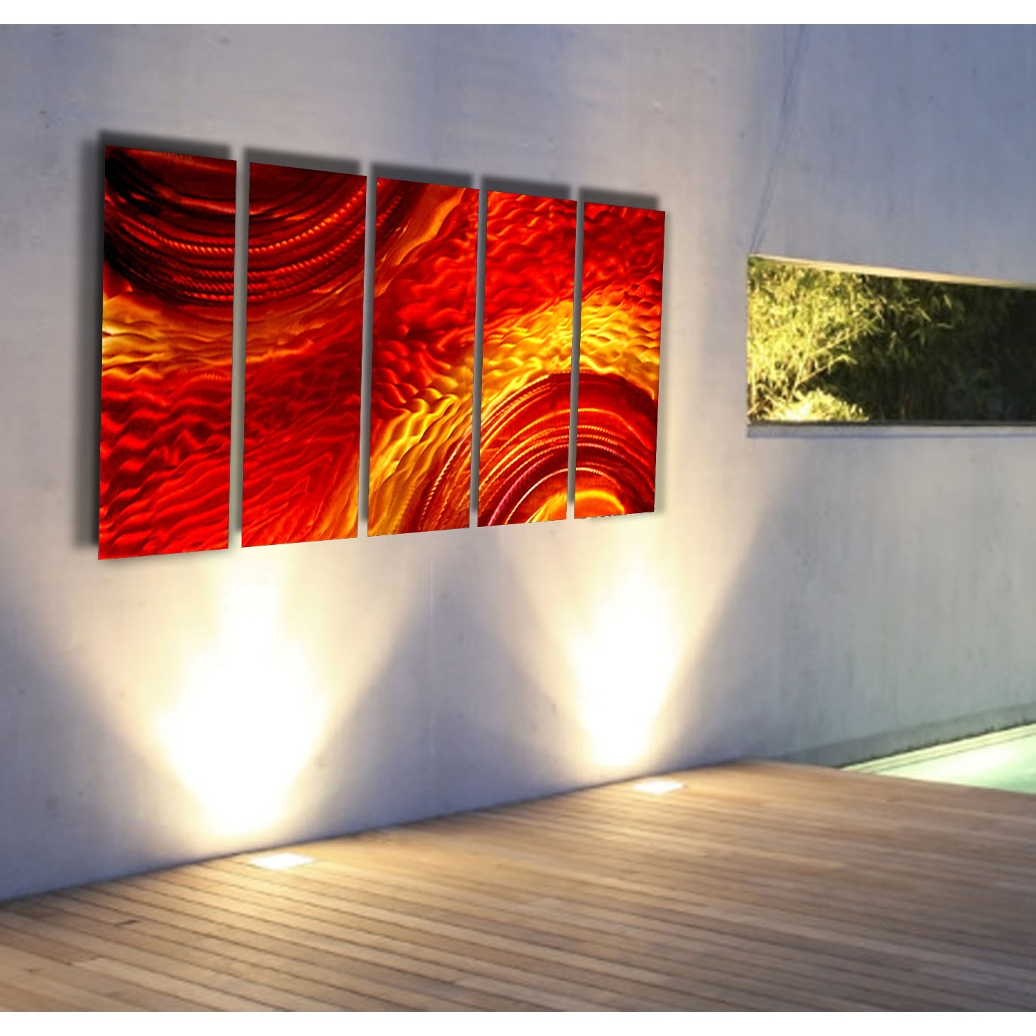 Magma – Red And Gold Metal Wall Art – 5 Panel Wall Décorjon Within Latest 5 Panel Wall Art (View 15 of 20)
