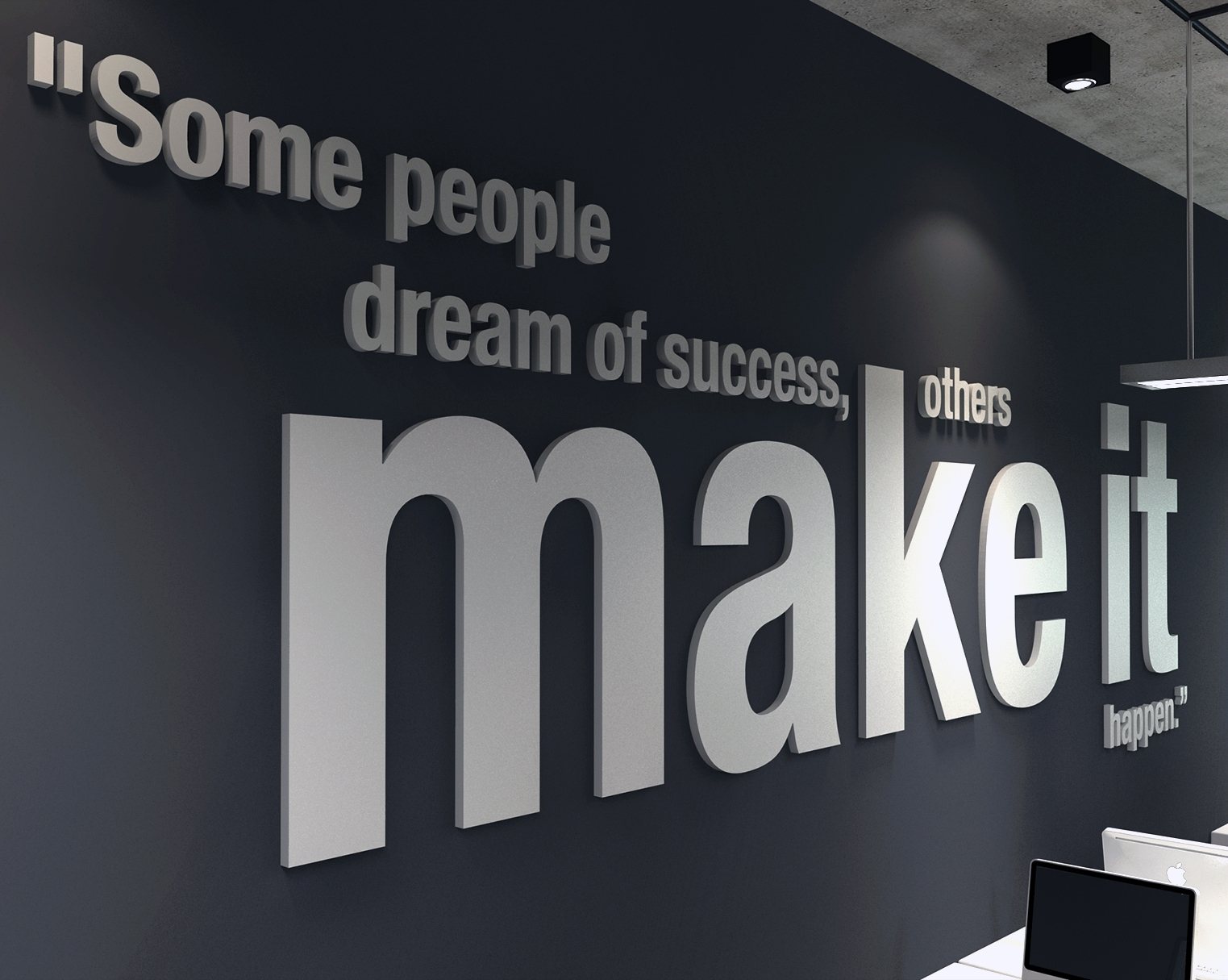 Make It Happen 3d Office Wall Art – Moonwallstickers In Current Black Wall Art (View 13 of 20)