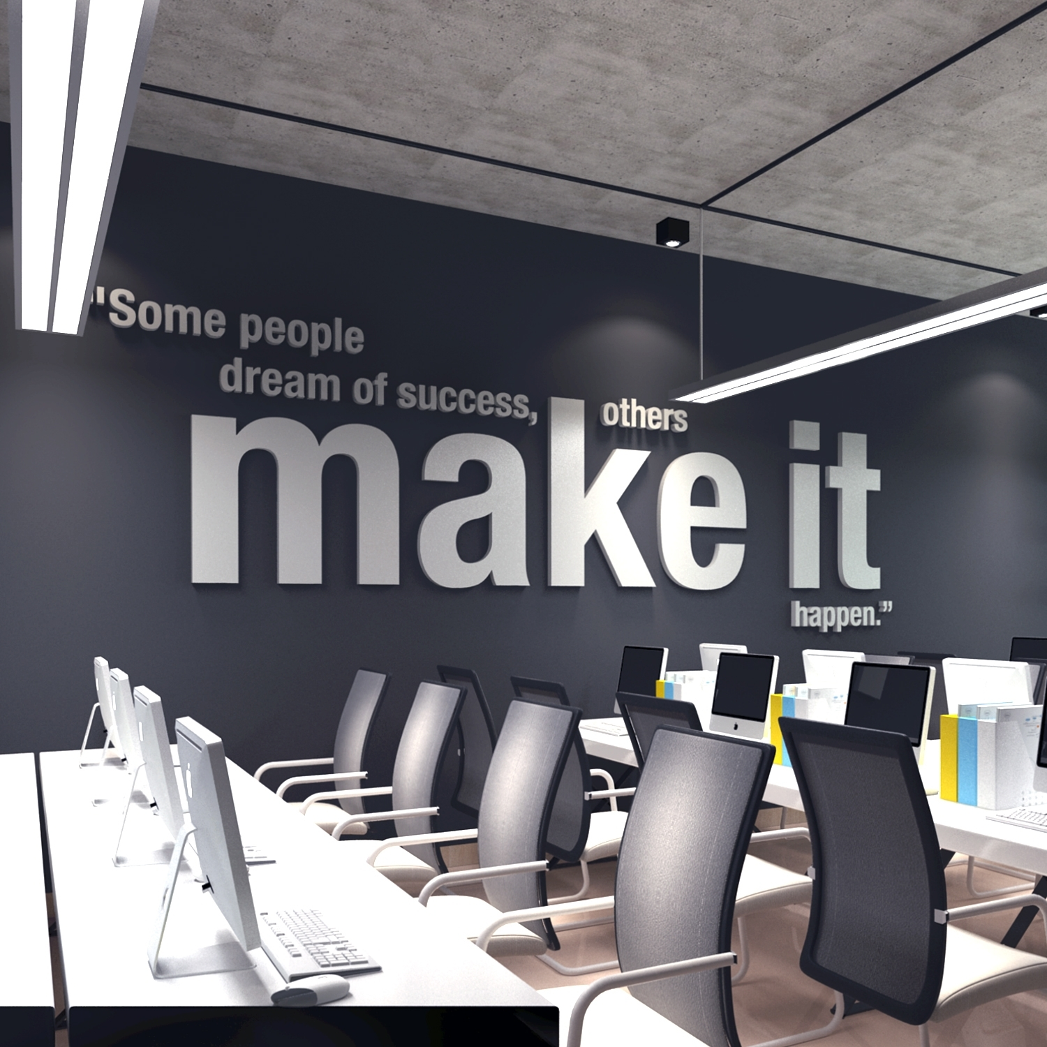 Make It Happen 3D Office Wall Art – Moonwallstickers Within Most Up To Date Office Wall Art (View 5 of 15)
