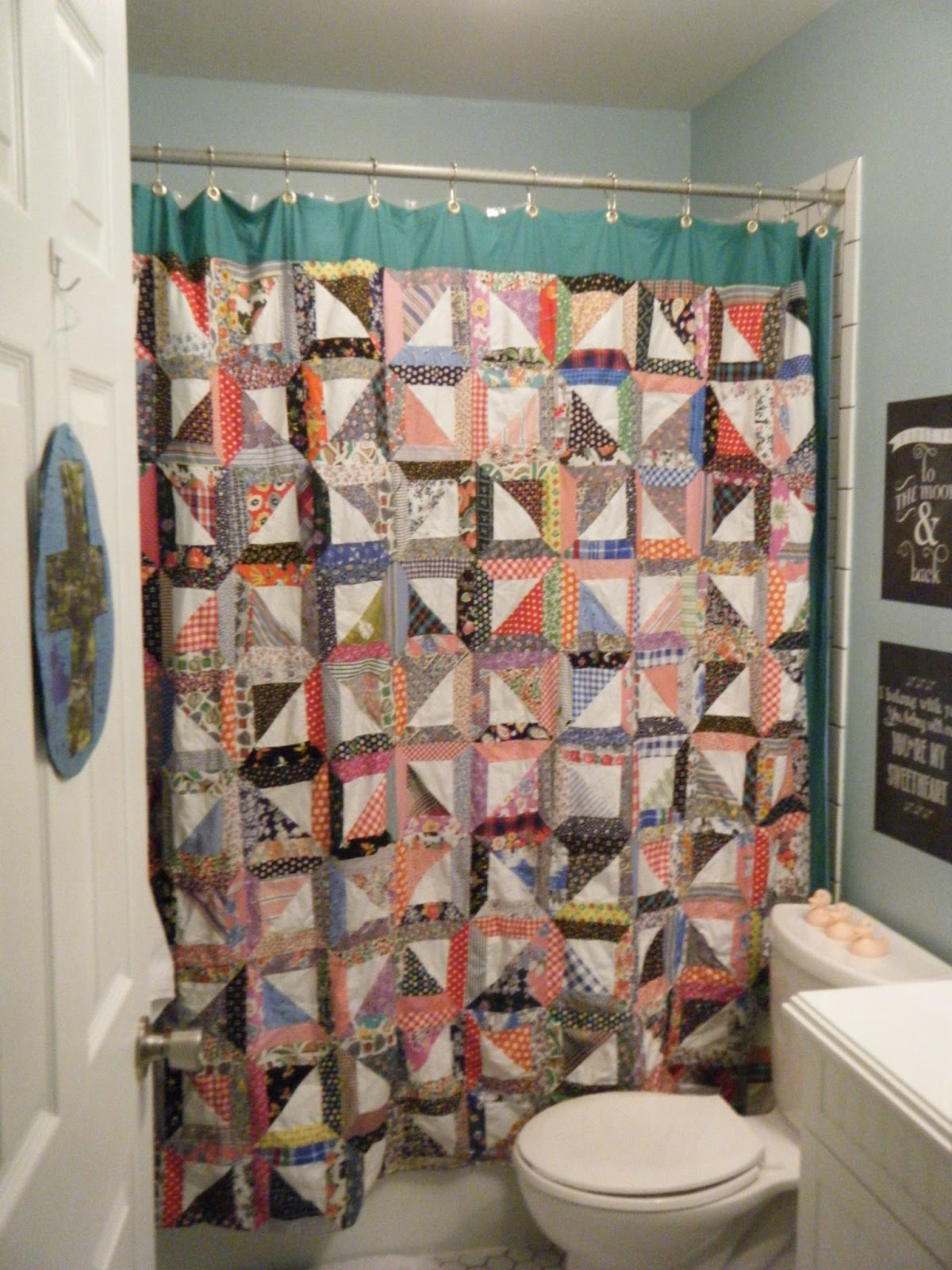 Makin' Projiks: Quilt Top Shower Curtain Obsessed Regarding 2017 Shower Curtain Wall Art (View 20 of 20)