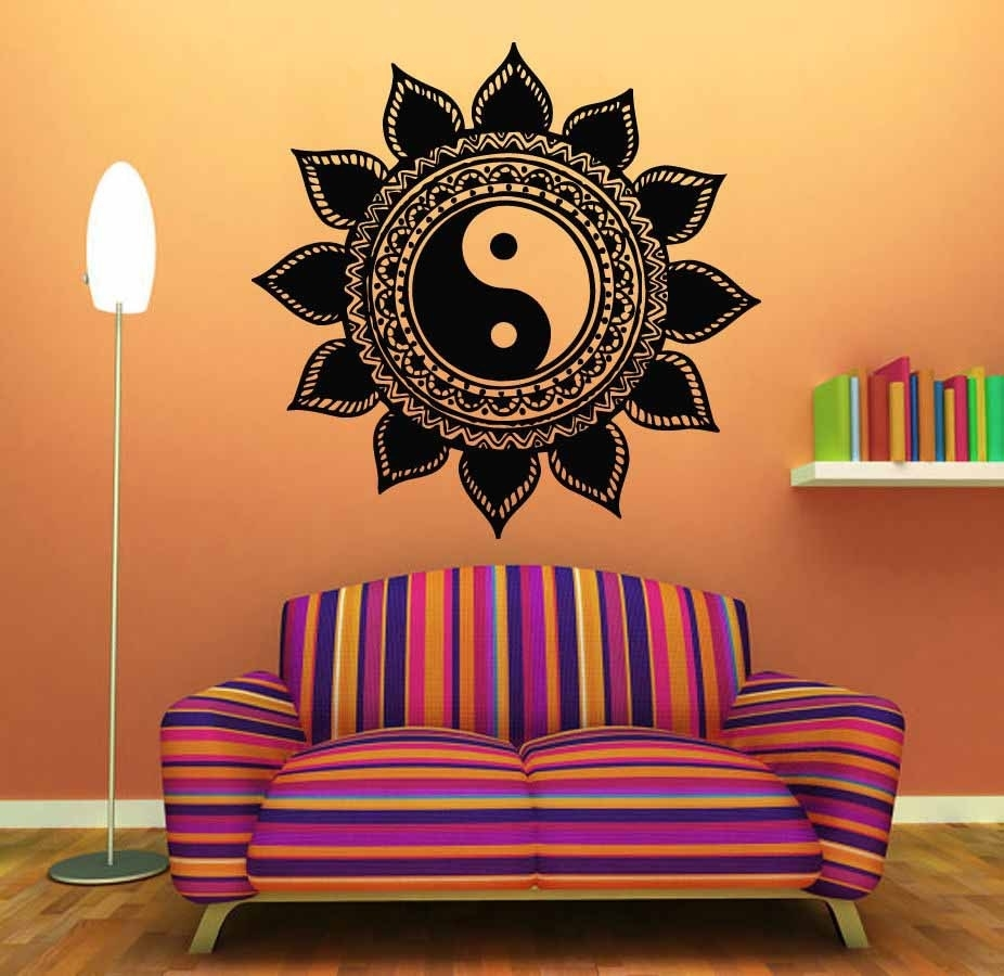 Mandala T??ng Sticker Home Decal Ph?t Yin Yang Hoa Yoga Thi?n Vinyl Inside Most Up To Date Mandala Wall Art (View 3 of 20)