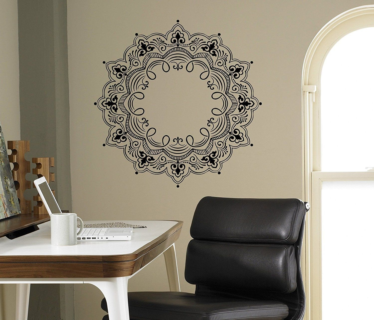 Mandala Wall Decal Abstract Flowers Vinyl Sticker Henna Flower Home Intended For Most Recently Released Henna Wall Art (View 15 of 20)