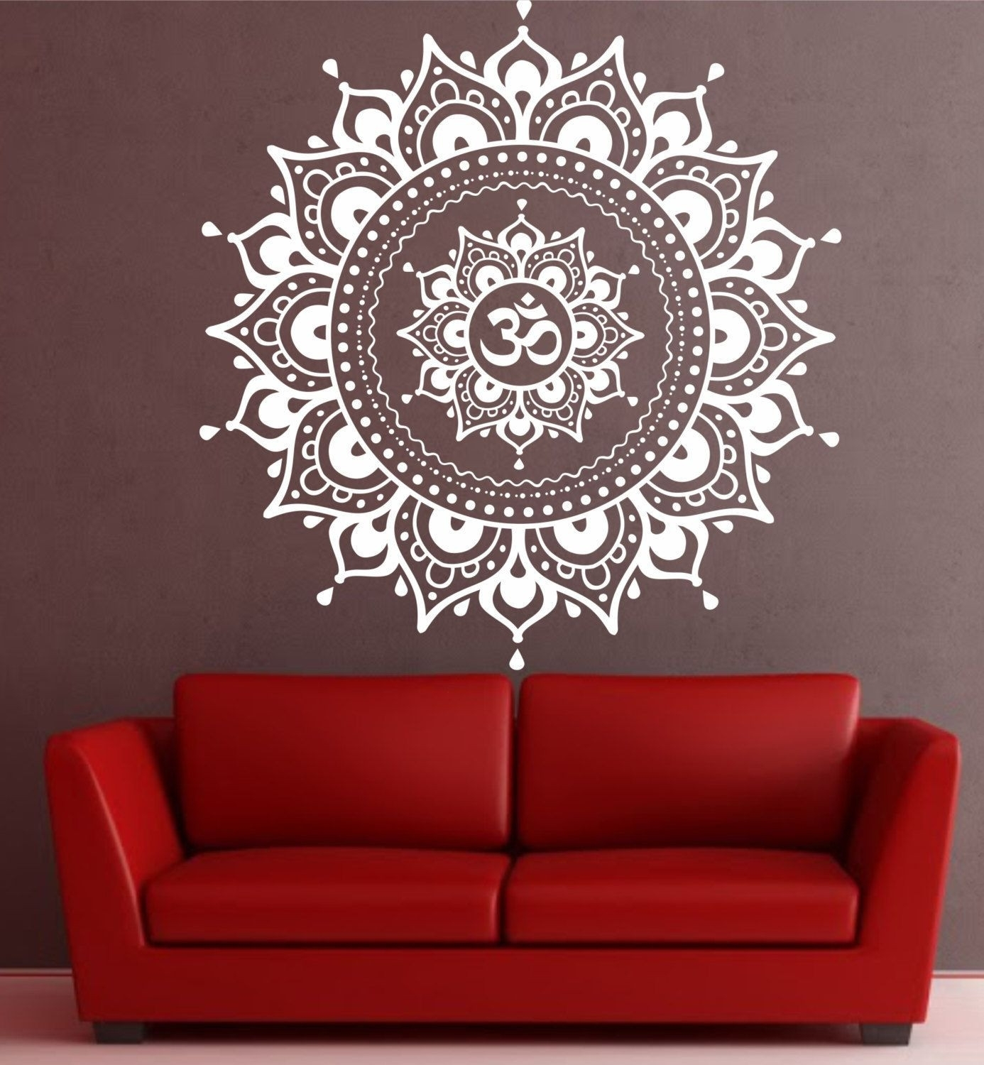 Mandala Wall Decal Mandala Decal Yoga Om Namaste Yoga Decor Wall Inside Most Popular Mandala Wall Art (View 17 of 20)