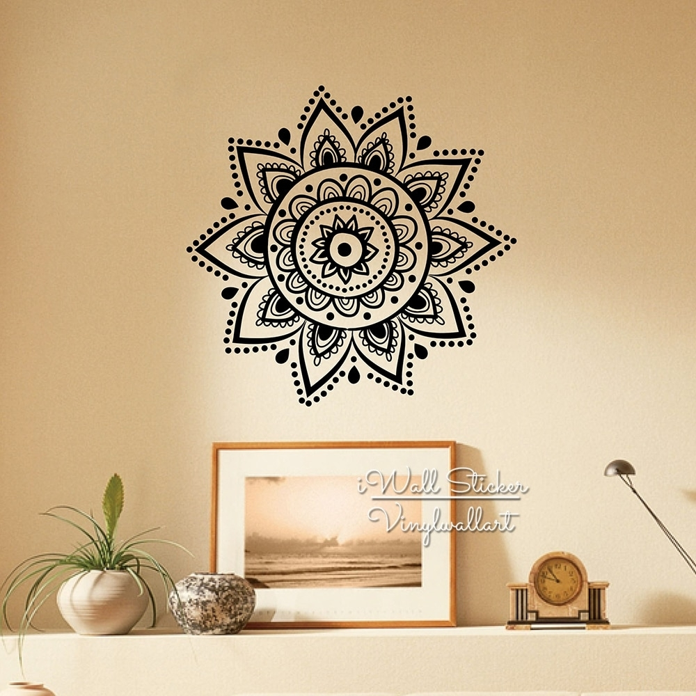 Mandala Wall Sticker Modern Yoga Wall Decal Diy Indian Wall Decors Pertaining To Most Current Mandala Wall Art (View 12 of 20)