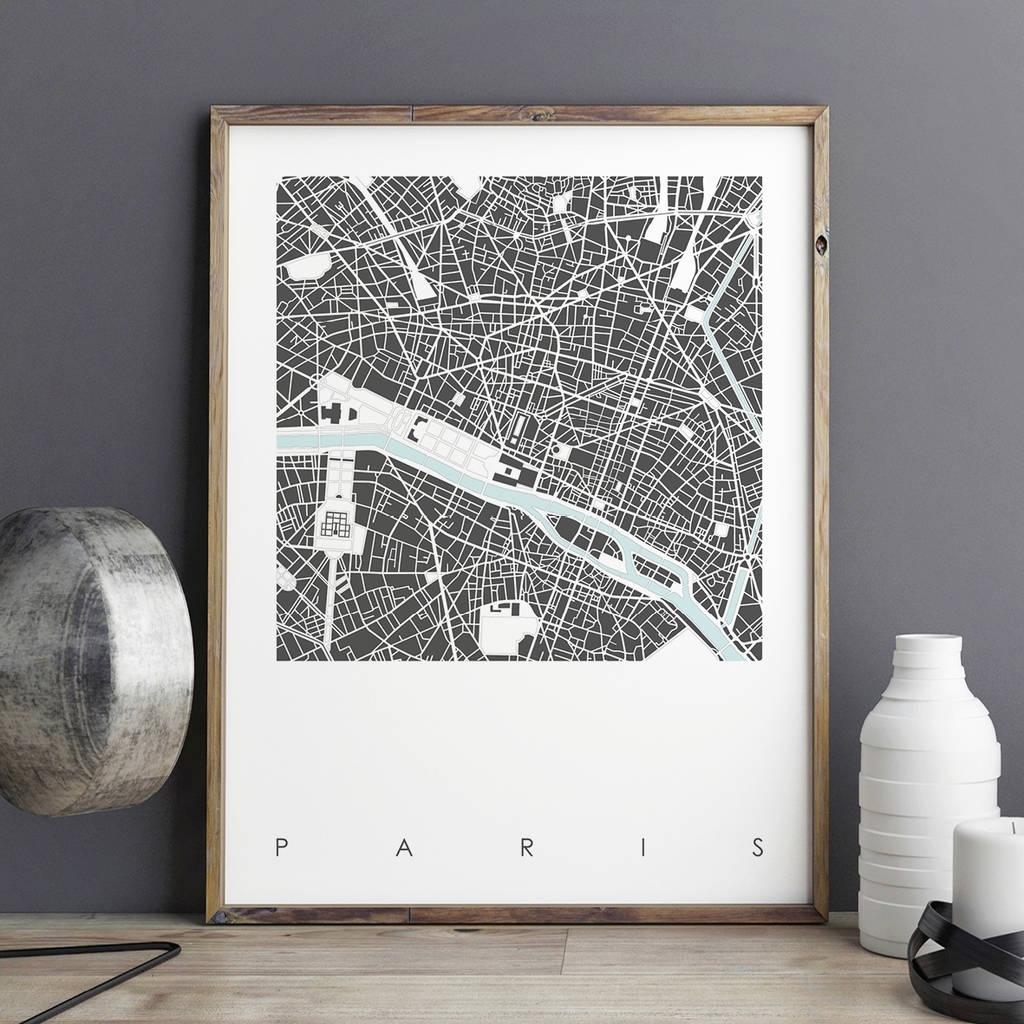 Map Print Of Paris Limtied Editionbronagh Kennedy – Art Prints Throughout Best And Newest Map Of Paris Wall Art (Gallery 17 of 20)