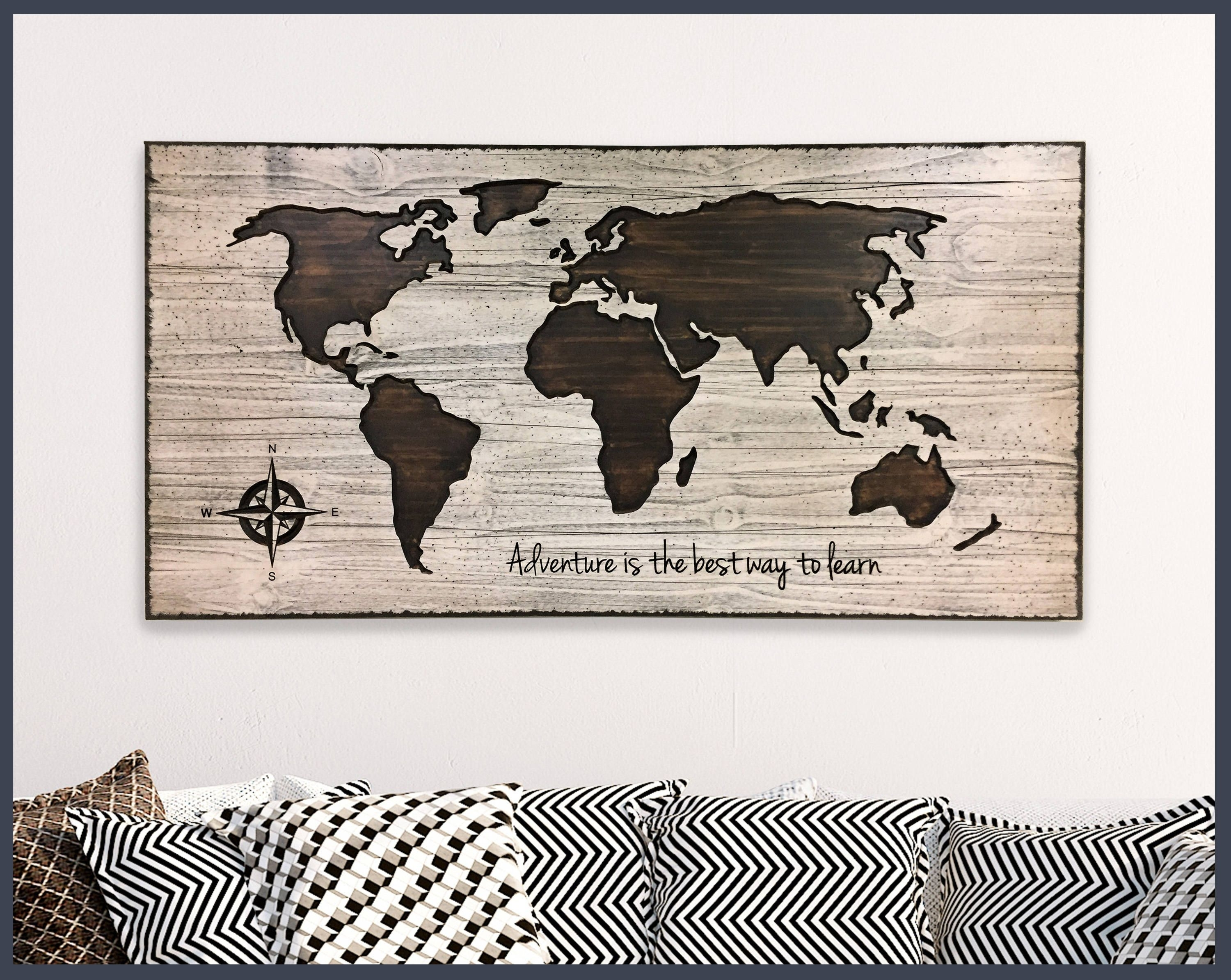 Map Wall Decor, Home Wall Decor, Wood Wall Art, Wooden Map, World Within Most Up To Date Map Of The World Wall Art (View 9 of 20)