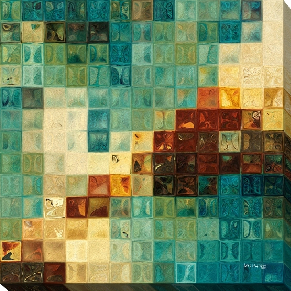 "Mark Lawrence ""aqua Tiles"" Giclee Stretched Canvas Wall Art – Ships In Current Tile Canvas Wall Art (View 12 of 20)"