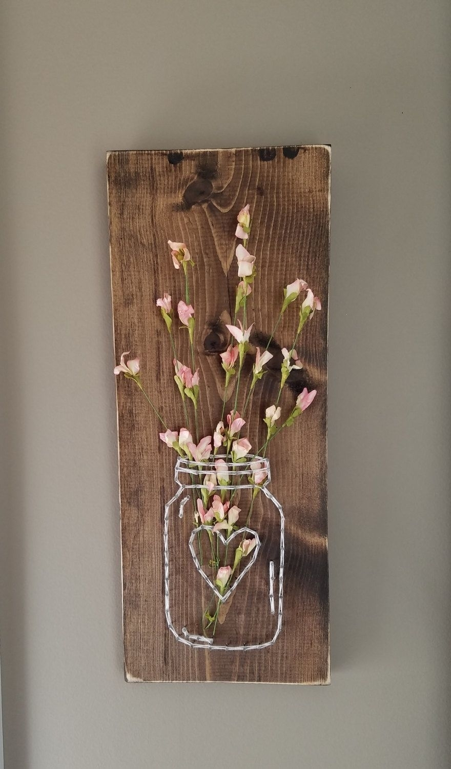 Mason Jar String Art With Artificial Flowers, Wall Art, Wood Wall With Regard To Most Current Mason Jar Wall Art (View 9 of 20)