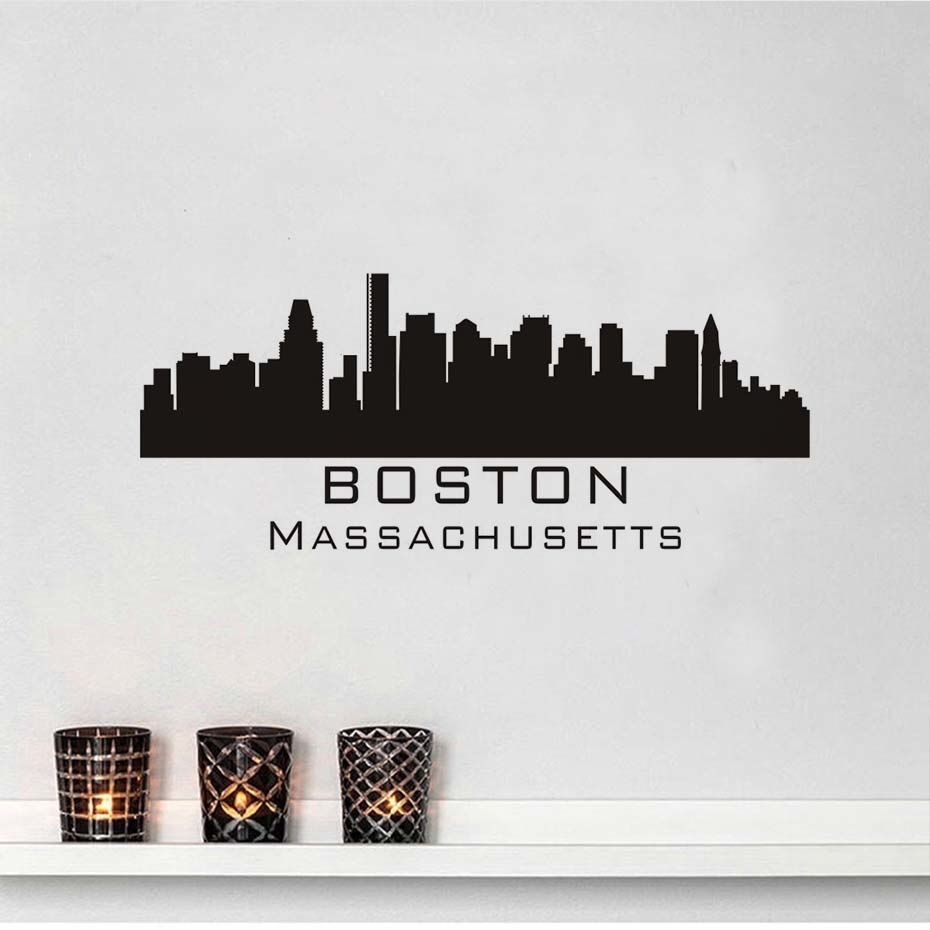 Massachusetts Boston City Wall Sticker Skyline Bangunan Silhouette For Recent Boston Wall Art (View 14 of 20)