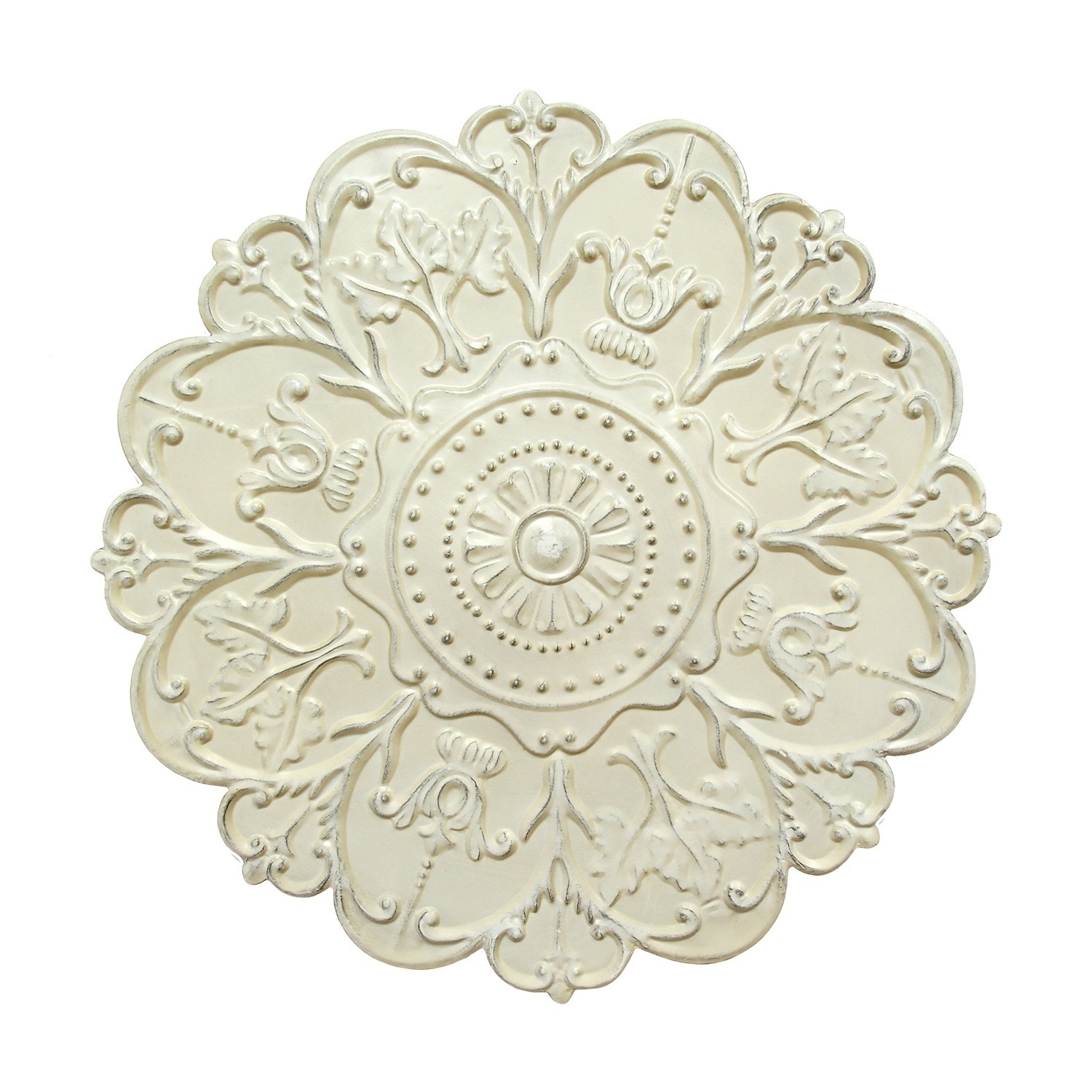 Medallion Wall Art Floral Accent Round Metal Home Decor Shabby White Pertaining To Most Popular Medallion Wall Art (View 9 of 20)