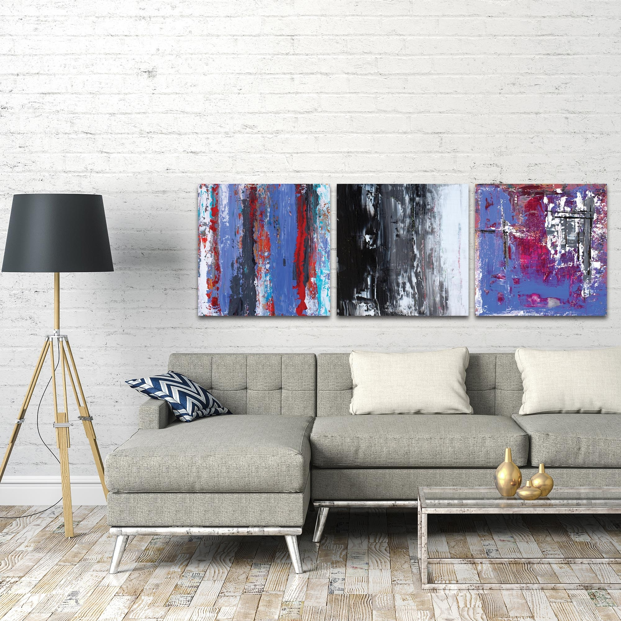 Metal Art Studio – Urban Triptych 4 Largeceleste Reiter With Regard To Most Recently Released Triptych Wall Art (View 13 of 20)