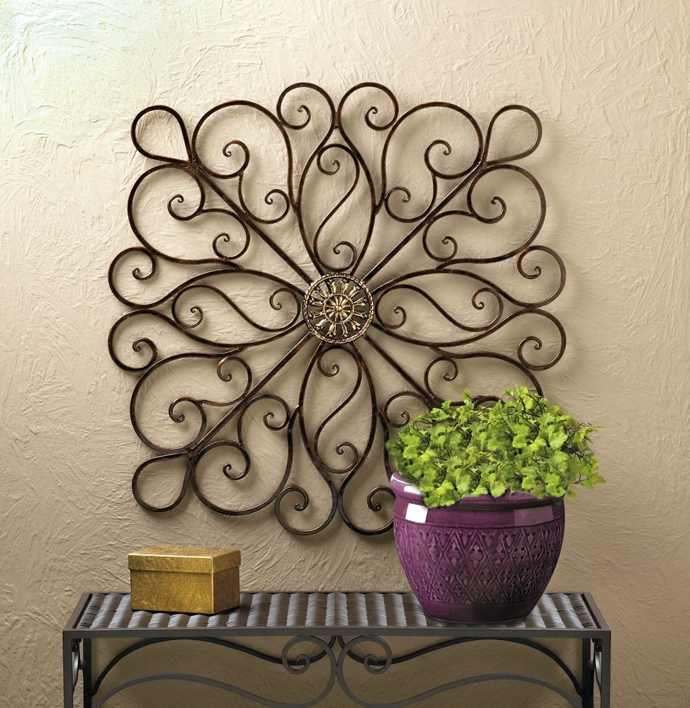 Metal Art Wall Decor, Scrollwork Modern Decorative Wrought Iron Wall For Newest Iron Wall Art (View 2 of 20)