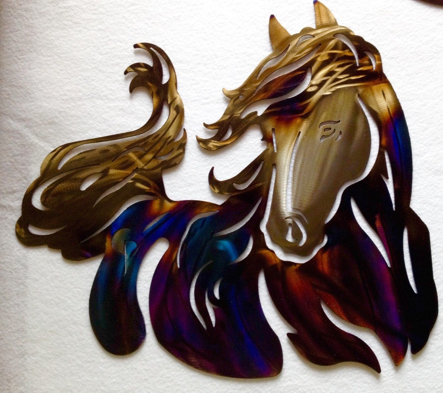 Metal Horse, Metal Art, Plasma Wall Art, Western Wall Art, Blued Intended For Most Popular Western Wall Art (View 8 of 20)