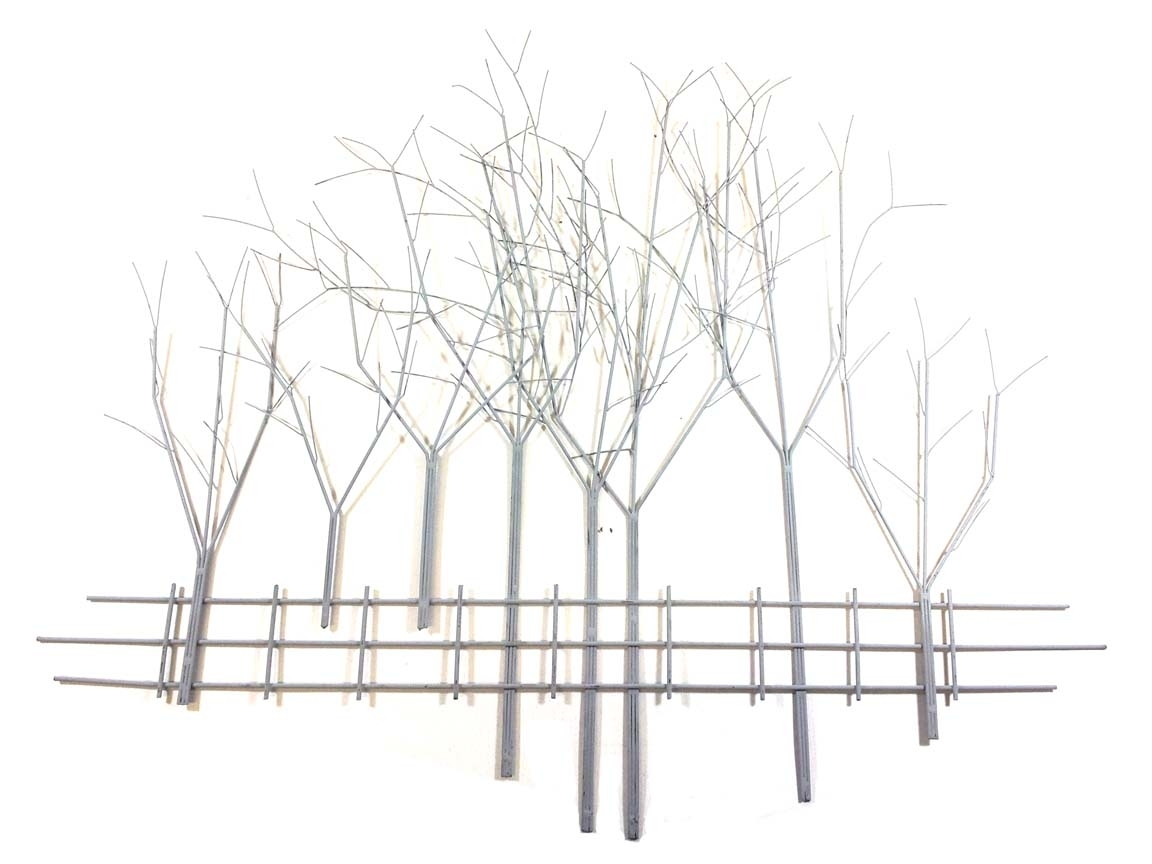 Metal Wall Art – Large Grey Winter's Day Tree Scene Regarding Latest Metal Tree Wall Art (View 12 of 15)