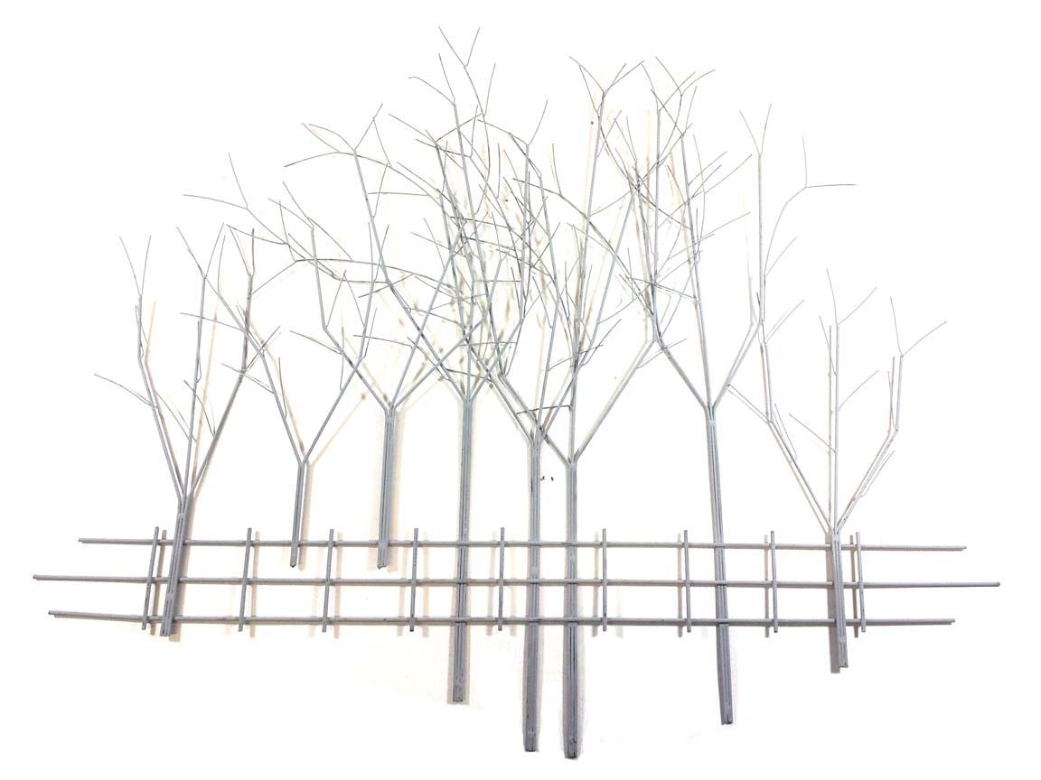 Metal Wall Art – Large Grey Winter's Day Tree Scene Regarding Latest Metal Tree Wall Art (View 10 of 15)