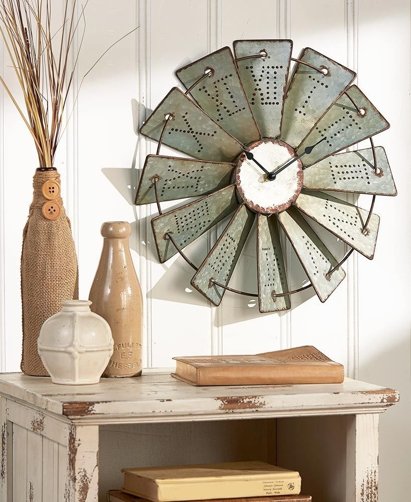Metal Windmill Wall Clock Art Living Room Entryway Farm Country Home Throughout 2017 Windmill Wall Art (View 14 of 20)