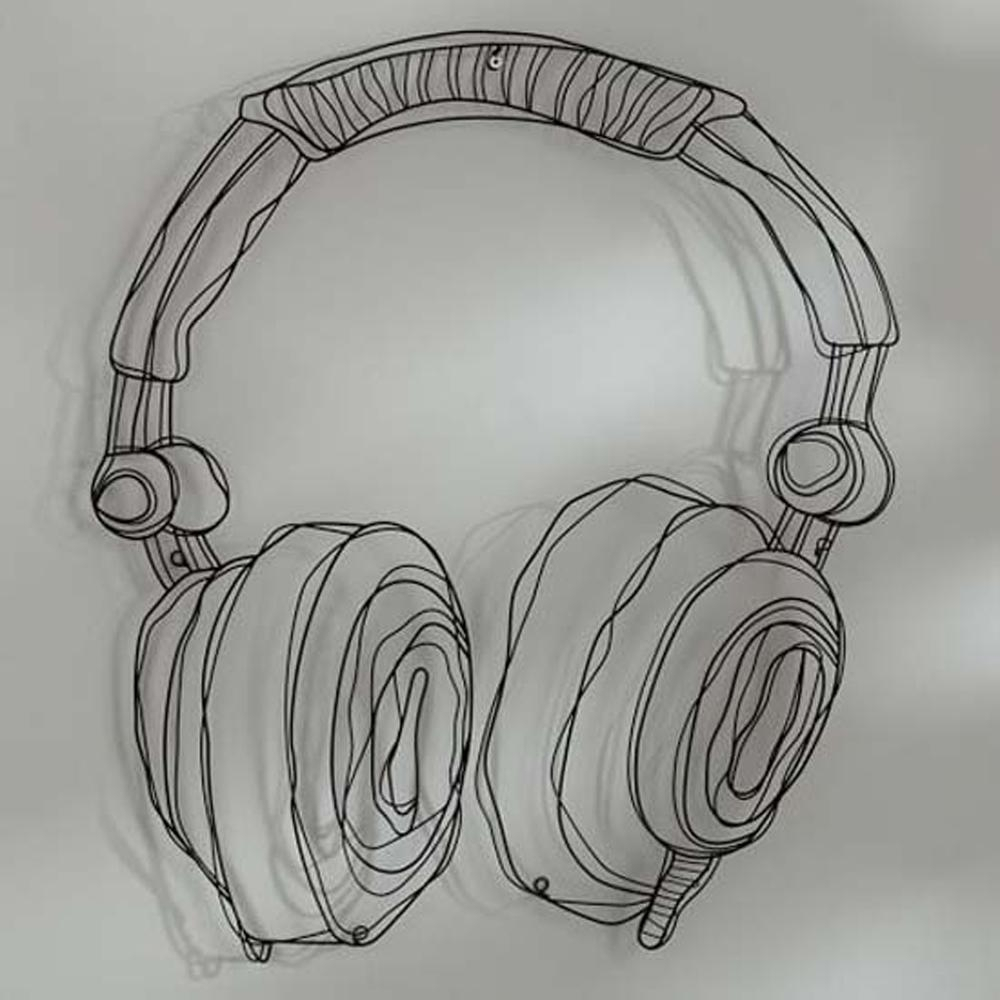 Metal Wire Guitar Wall Decor Art Music Wall Sculpture Wire Headset Within 2017 Wire Wall Art (Gallery 15 of 20)