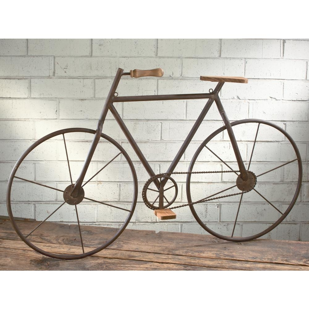Metal With Wood Brown Finish Bicycle Wall Art 16465 – The Home Depot Within Current Bicycle Wall Art (View 2 of 20)