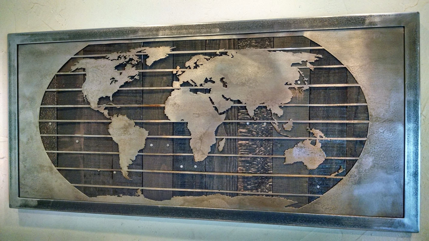 Metal World Map Wall Art Sculpture – 3 Sizes – Reclaimed Wood & Steel Intended For Newest Maps Wall Art (Gallery 17 of 20)