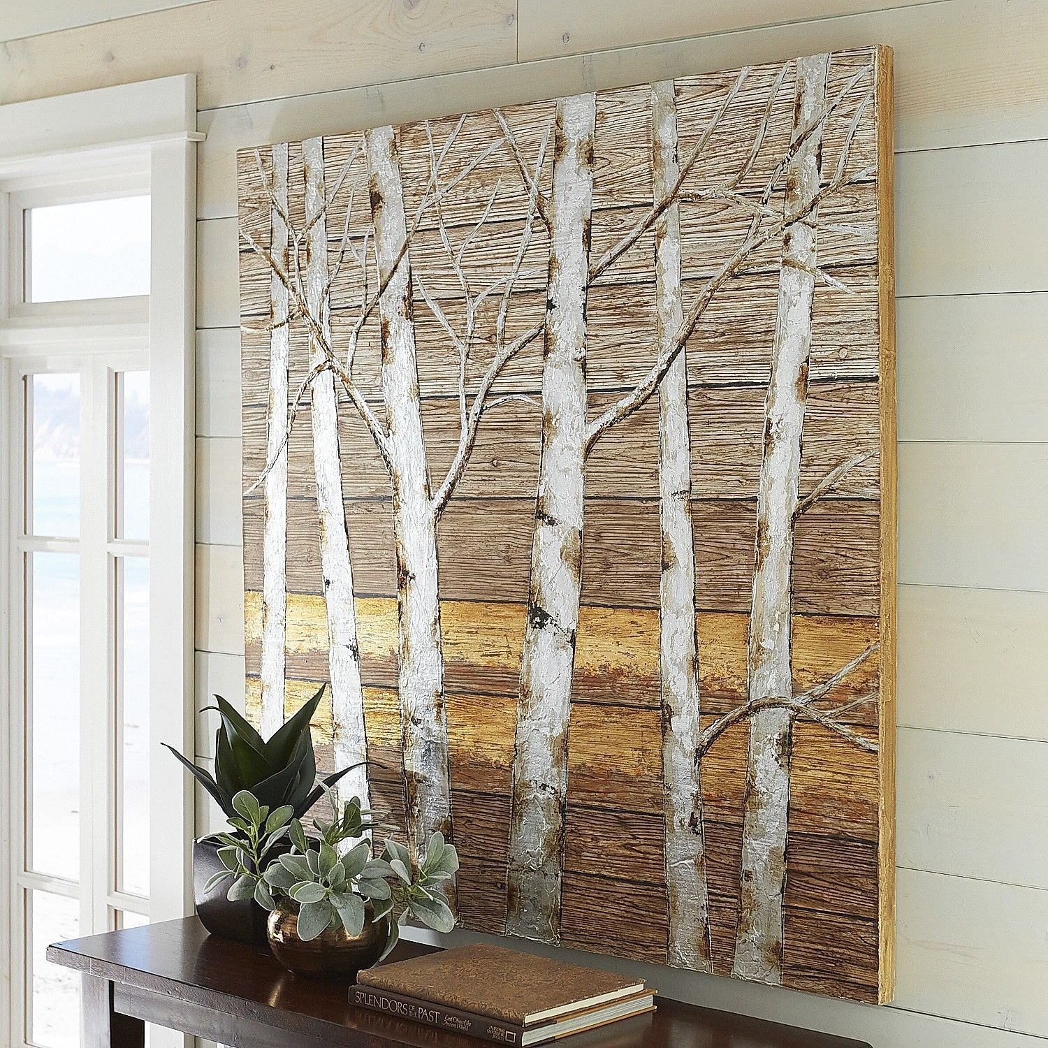 Metallic Birch Trees Wall Art – 4X4 In Most Current Plank Wall Art (View 10 of 20)