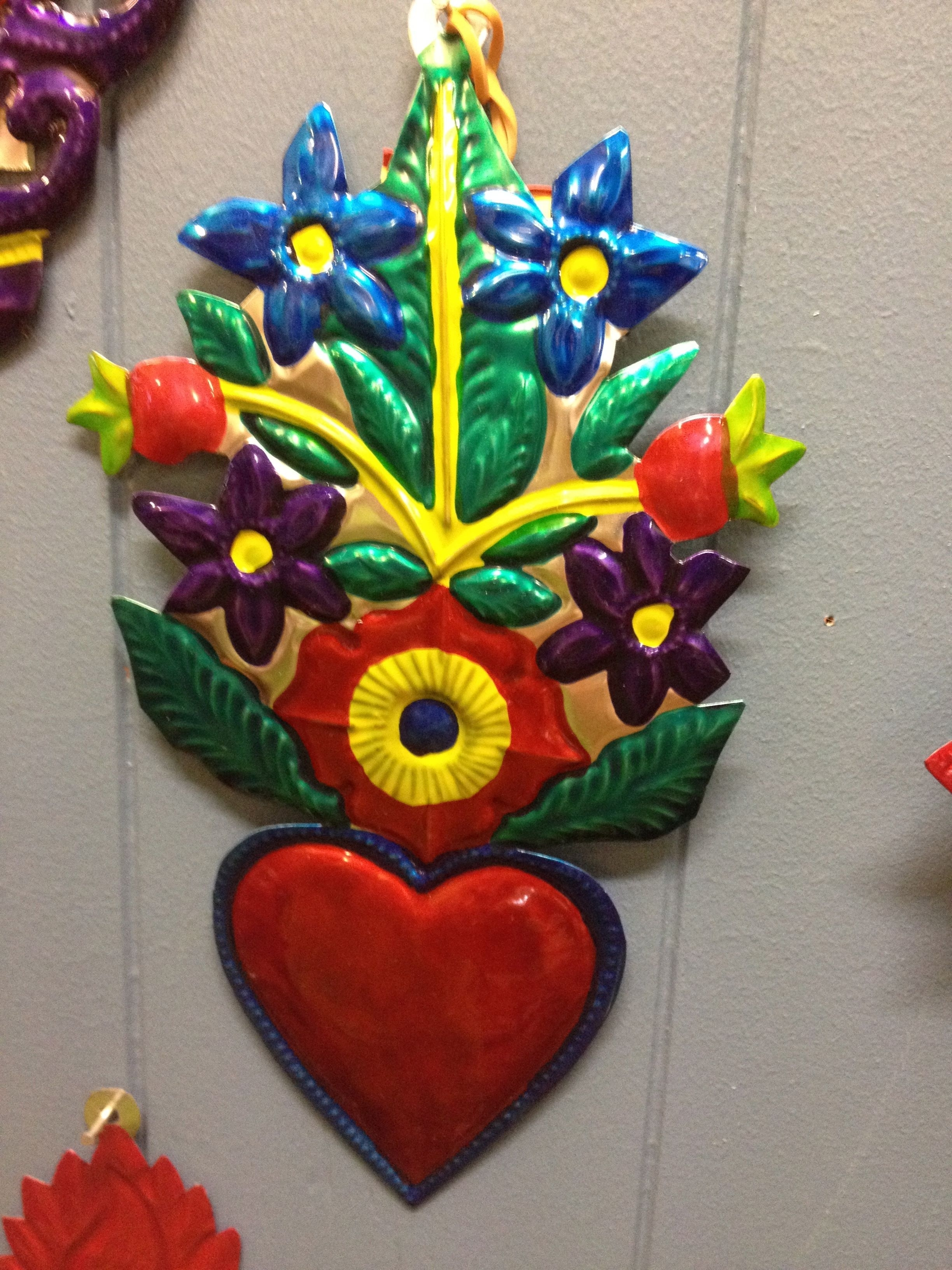 Mexican Tin Wall Art – Red Heart With Colourful Flowers (View 10 of 20)