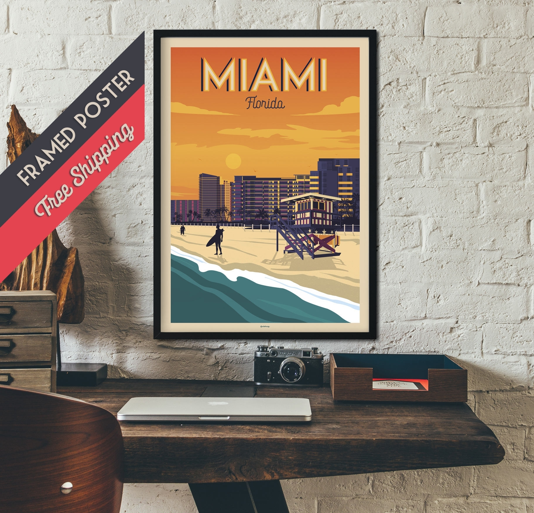 Miami – Florida – Vintage Travel Poster, Framed Poster, Wall Art With 2018 Florida Wall Art (View 11 of 20)