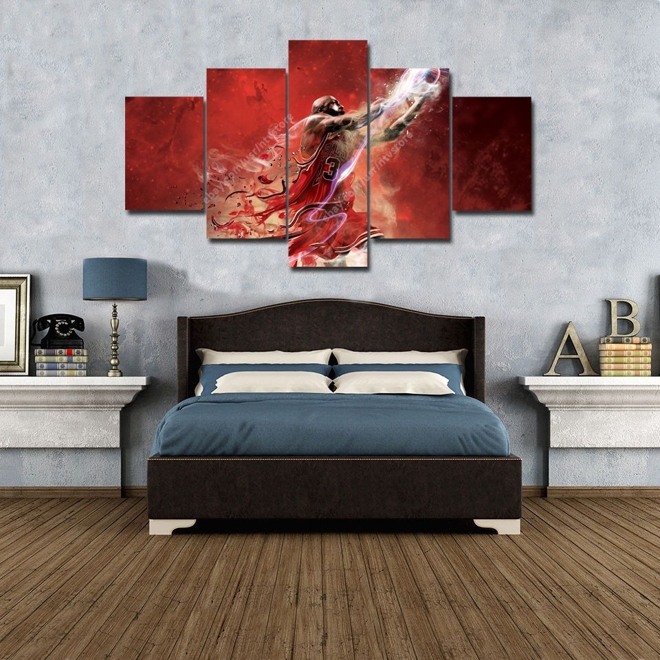 Michael Jordan 23 Wall Art Canvas 5 Piece Picture Print Large Regarding Most Recent Basketball Wall Art (View 12 of 15)