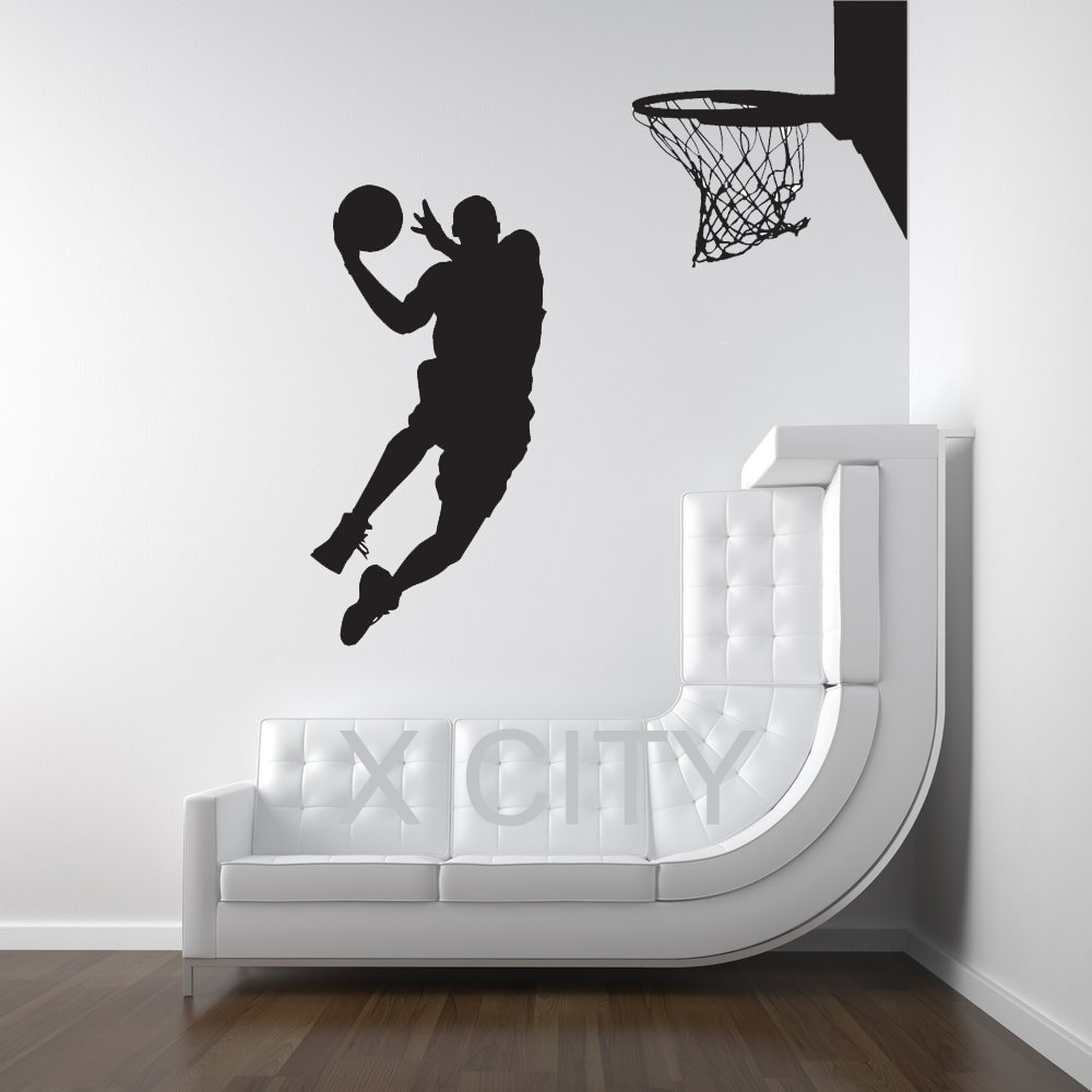 Michael Jordan Basketball Player Dunk Ball Dorm Decor Silhouette Within Most Current Basketball Wall Art (View 13 of 15)