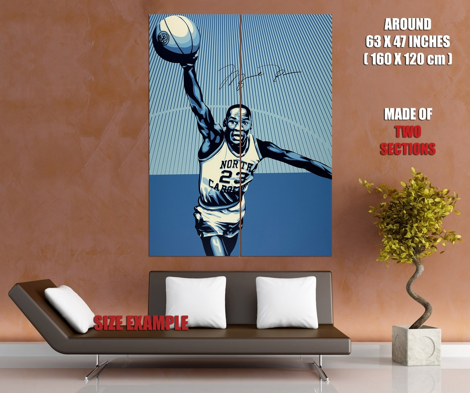 Michael Jordan North Carolina Retro Basketball Huge Giant Wall Print Pertaining To Most Recent North Carolina Wall Art (Gallery 12 of 20)