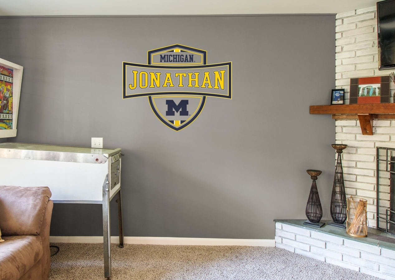 Michigan Wolverines Personalized Name Wall Decal | Shop Fathead® For Throughout Most Up To Date Michigan Wall Art (Gallery 14 of 20)