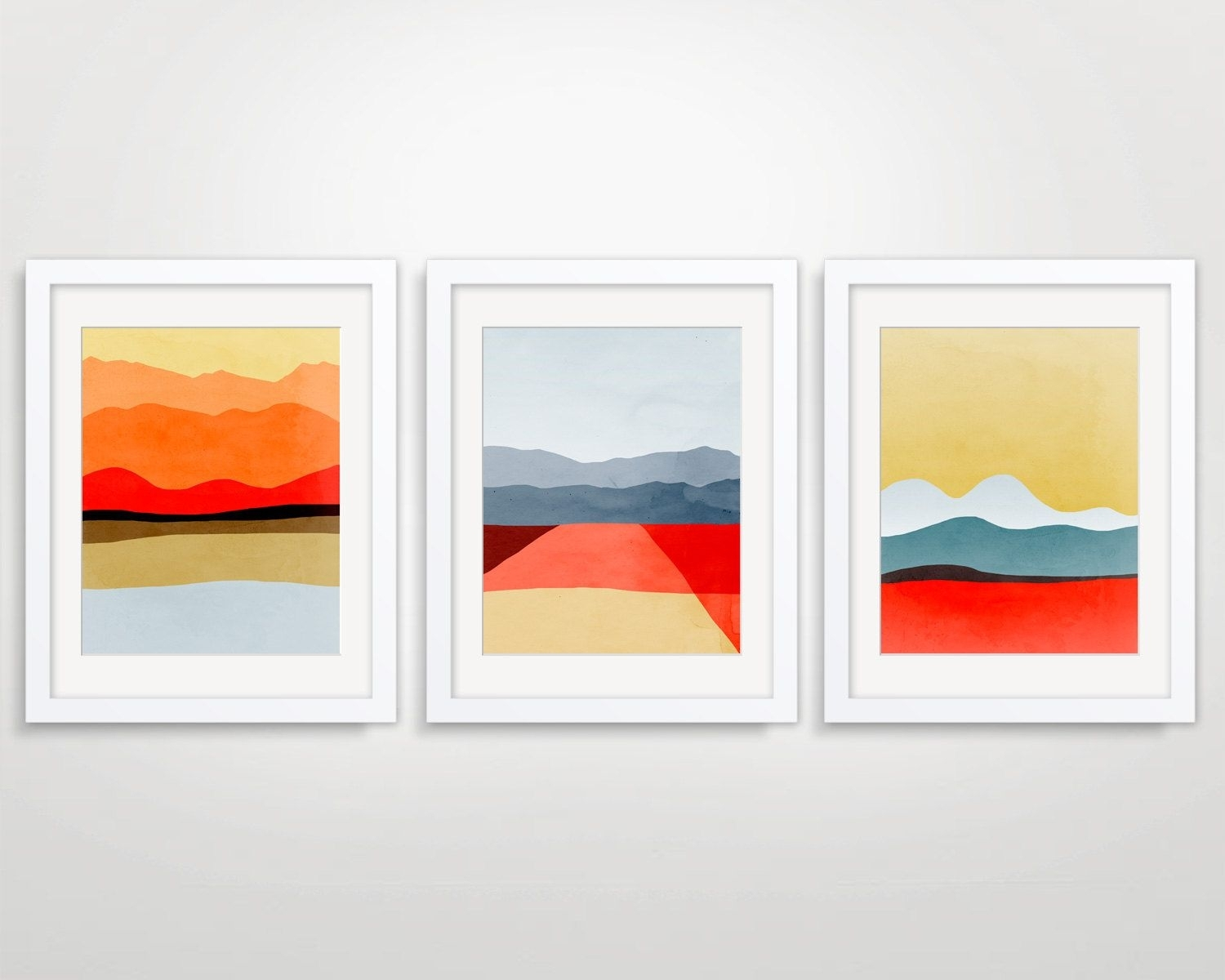 Mid Century Modern Art, Abstract Art Set Of 3 Prints, Wall Art Set For Most Recent Mid Century Wall Art (View 6 of 20)