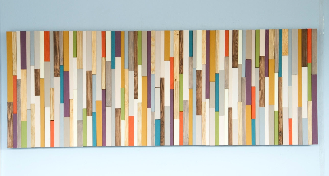 Mid Century Wall Art, Reclaimed Wood Art Sculpture, Painted Wood Inside 2018 Mid Century Modern Wall Art (Gallery 12 of 20)