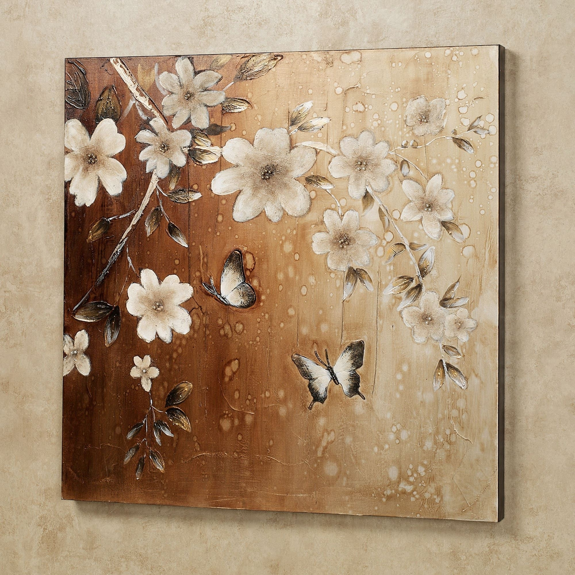 Midday Sun Butterfly Floral Canvas Wall Art Regarding Latest Floral Canvas Wall Art (View 14 of 20)